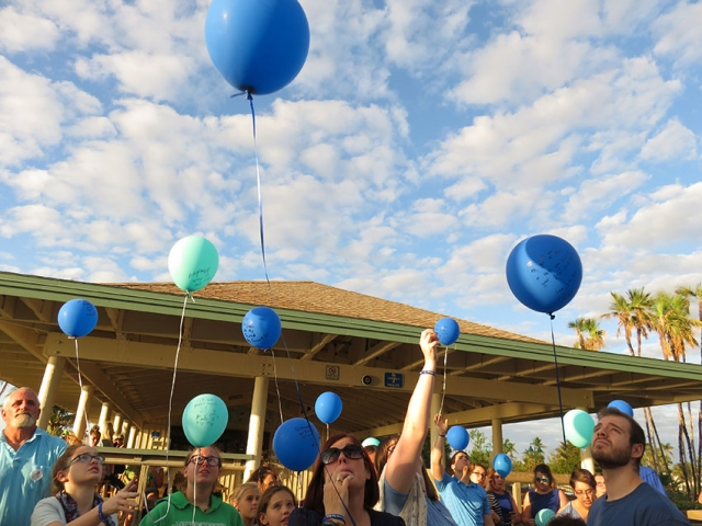The Release of the Blue Balloons Begins